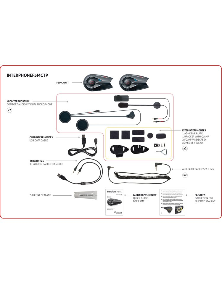 Product Eng 69586 Intercom INTERPHONE F5 MC Series Twin Pack on Motorcycle Exhaust Systems