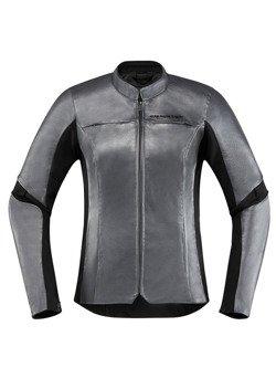 Icon Motorcycle Jacket Overlord Leather Women charcoal